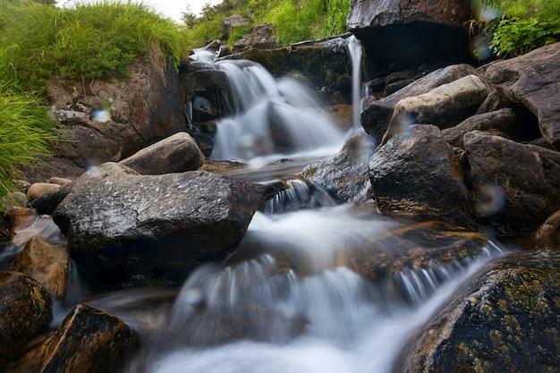 長時間露出で森の滝。 Premium写真