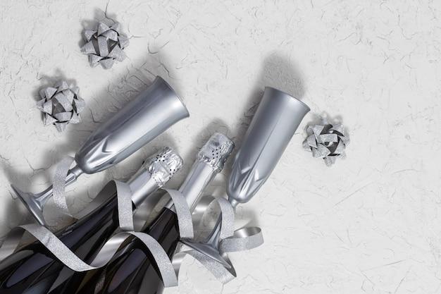 明るい銀の吹流し蛇紋岩、スパークリングワインのボトル、ホリデーカードのメガネ Premium写真