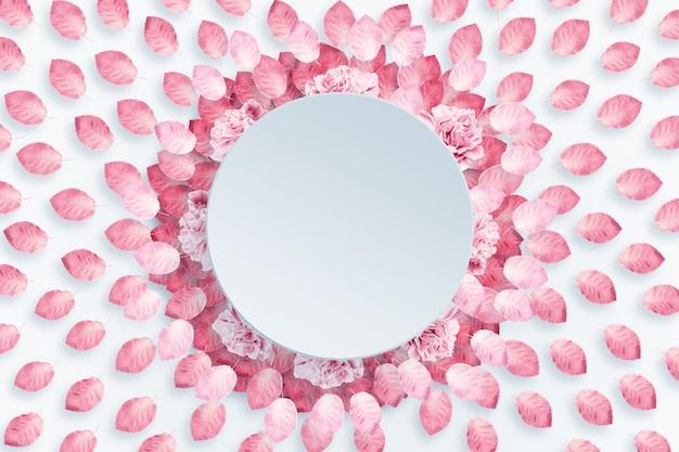 春の背景、ラウンドフレーム、明るい背景にピンク、赤のカーネーションの花輪 Premium写真