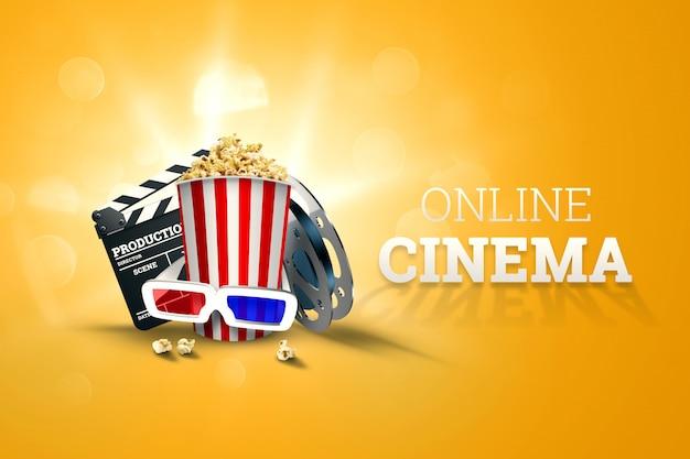 Кино, атрибуты кино, кинотеатры, фильмы, онлайн просмотр, попкорн и очки. Premium Фотографии