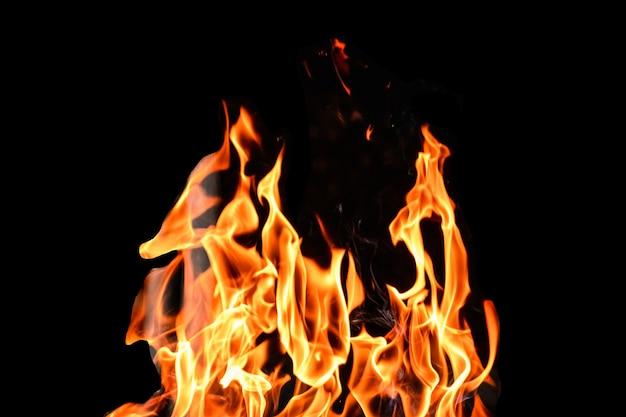 火、黒の背景の炎を分離します。コンセプト火グリル熱週末バーベキュー。 Premium写真