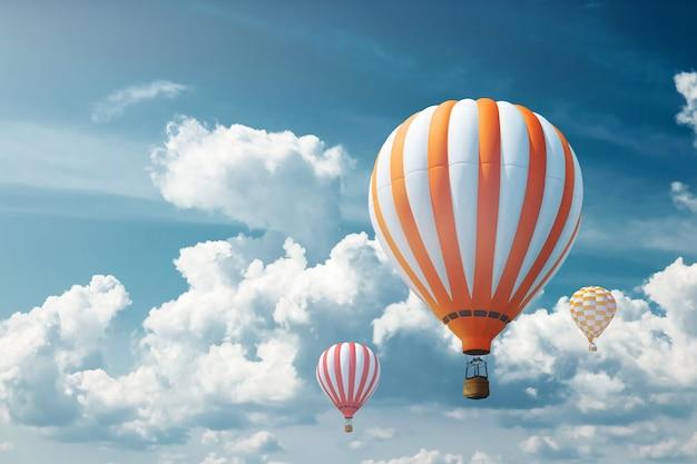 青い空を背景に色とりどりの大きな風船。旅行のコンセプト、夢、新しい感情、旅行代理店。 Premium写真
