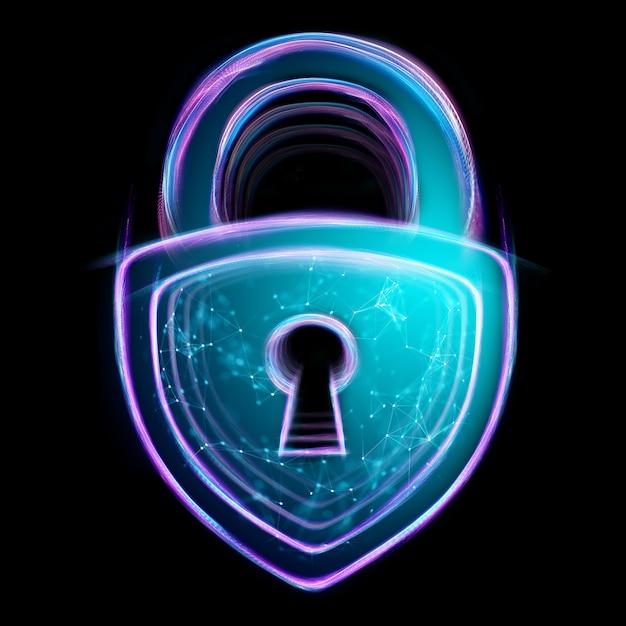 ホログラムロックは、黒の背景に分離されました。セキュリティ、安全、データのプライバシー、データ保護、暗号通貨、サイバーオタクの概念。 Premium写真