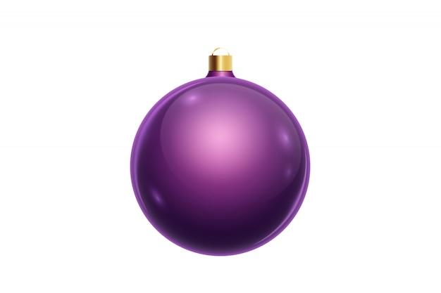 白い背景に分離された紫のクリスマスボール。クリスマスの飾り、クリスマスツリーの飾り。 Premium写真