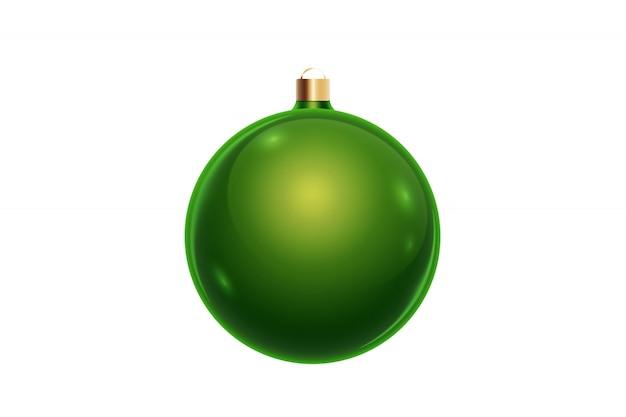 白い背景に分離された緑のクリスマスボール。クリスマスの飾り、クリスマスツリーの飾り。 Premium写真