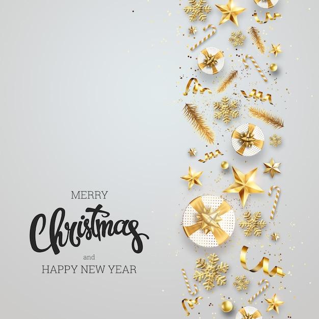 創造的な背景、明るい背景にお祝い要素から成っているクリスマスの装飾的なボーダー。 Premium写真