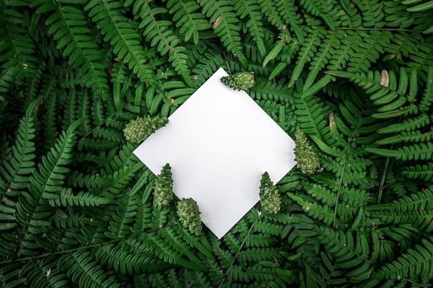 Ромб бумажный каркас на зеленом цветочном фоне Premium Фотографии
