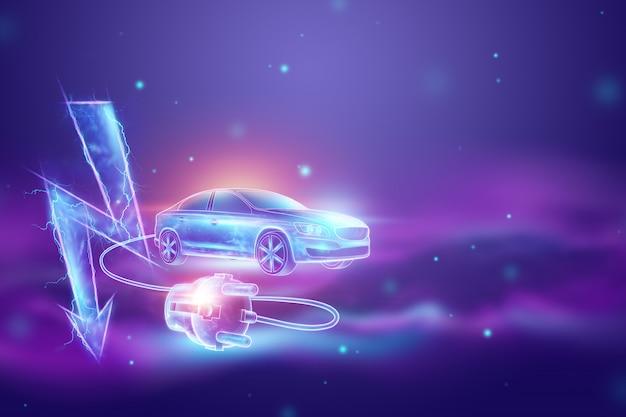 充電ワイヤー、ホログラム、電気記号付きの電気自動車。 Premium写真