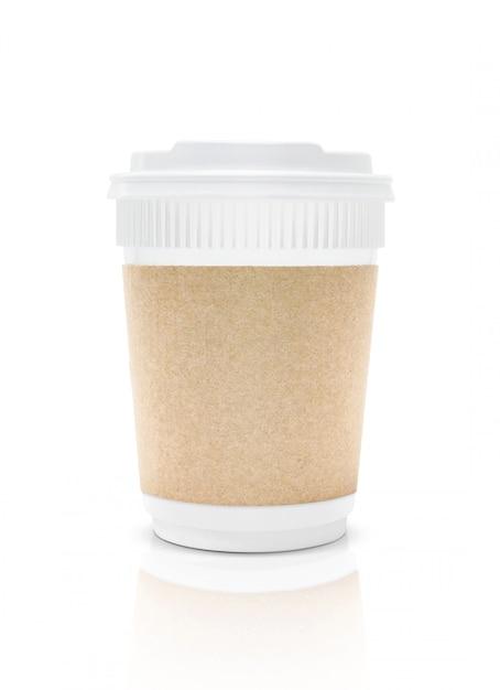 Пустая упаковка пластиковая чашка кофе, чтобы изолироваться Premium Фотографии
