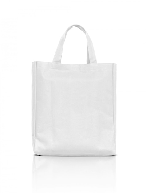 Пустая белая сумка из ткани на белом фоне Premium Фотографии