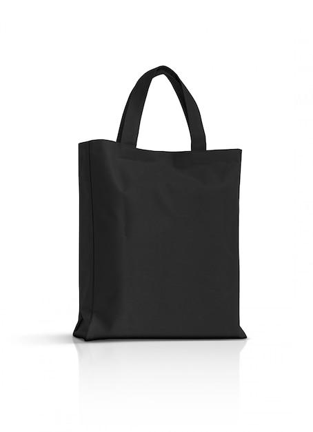 Пустая черная сумка из ткани на белом фоне Premium Фотографии