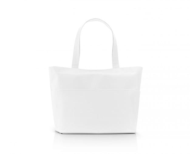 Пустая белая сумка для покупок из ткани для сохранения глобального потепления Premium Фотографии