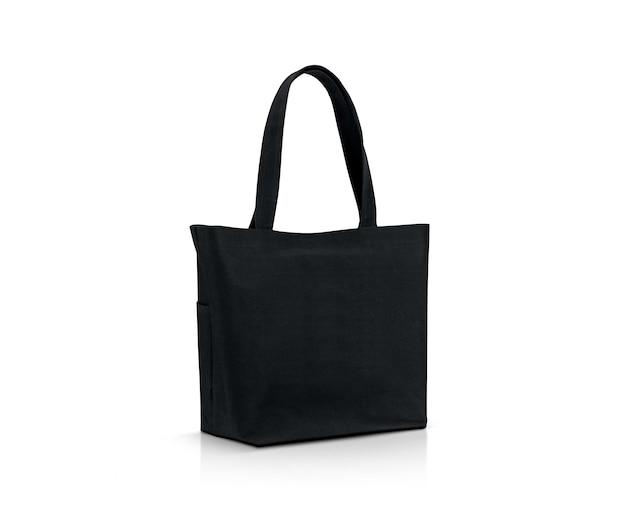 Пустая черная сумка для покупок из ткани для сохранения глобального потепления Premium Фотографии