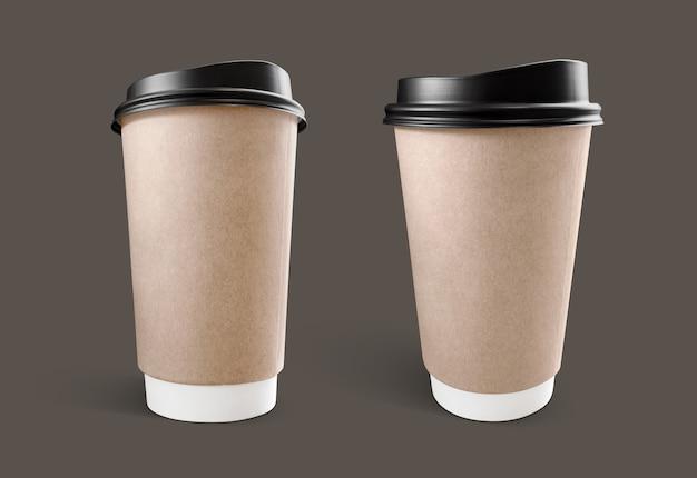 Кофейная чашка из коричневой крафт-бумаги Premium Фотографии