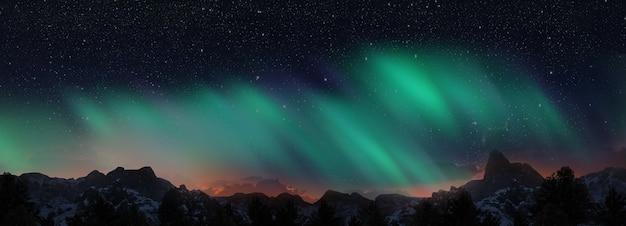 언덕 위의 아름다운 녹색과 빨강 오로라 춤. 3d 렌더링 프리미엄 사진