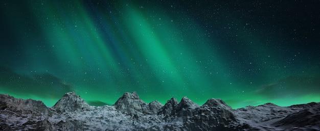 언덕 위의 아름다운 녹색과 빨강 오로라 춤 프리미엄 사진