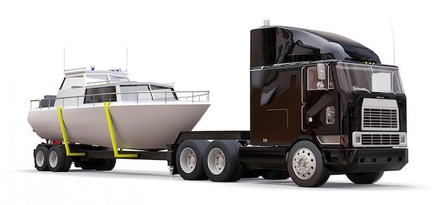 白い背景の上のボートを運ぶためのトレーラーと大きな黒いトラック Premium写真