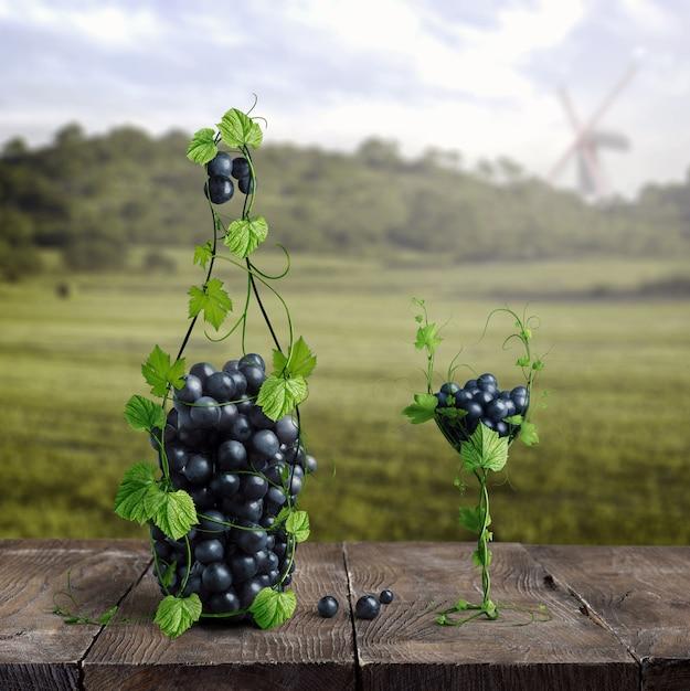 ブドウで作られたボトルとグラス1杯のワイン Premium写真