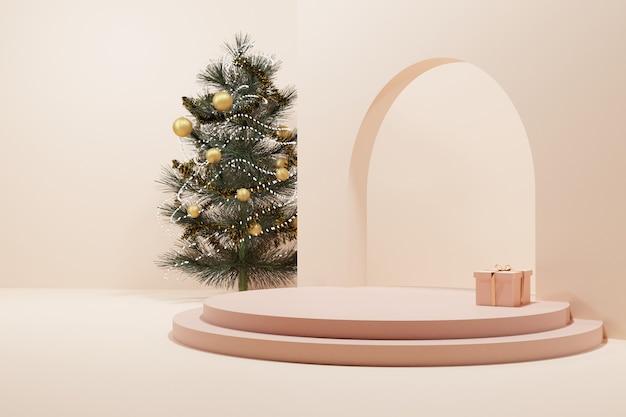 부드러운 로즈 골드 서클 스테이지가있는 크리스마스 트리와 선물 프리미엄 사진