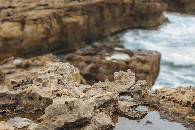 海の崖の岩肌のクローズアップ 無料写真