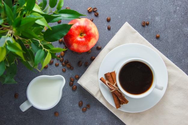 Начиная тетрадь непрожитого дня... - Страница 16 A-cup-of-coffee-with-apple-dry-cinnamon-plant-milk-top-view-on-a-gray-surface_176474-5001
