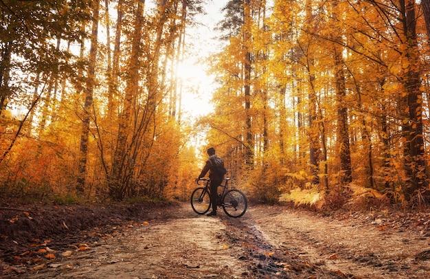 Велосипедист стоит на дорожке в мечтательном осеннем лесу при дневном свете. красивый осенний пейзаж. Premium Фотографии