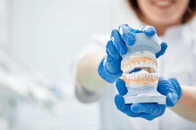 Девушка стоматолога держит в руке модель челюсти. Premium Фотографии