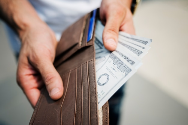 A doller bills in a wallet Free Photo