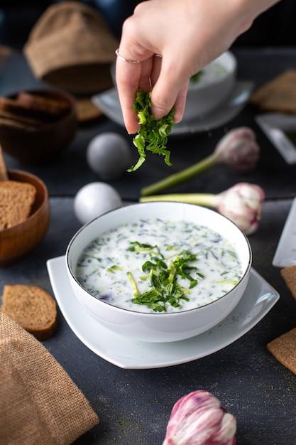 灰色の机の上に熱いテーブルスープ液体にパンローフ卵花と一緒に白いプレートの内側の緑と注がれる乾燥ミントと正面図dovga皿 無料写真