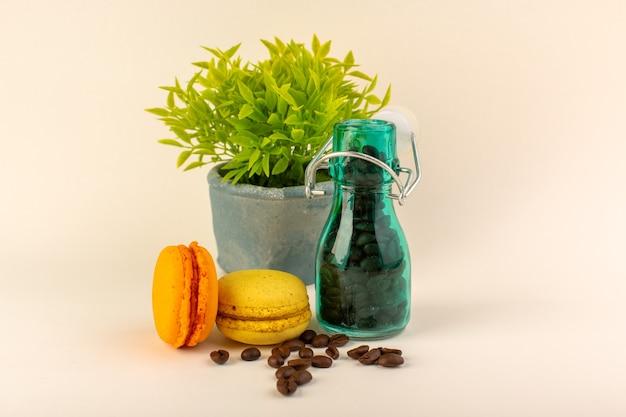 コーヒーフレンチマカロンとピンクのテーブルコーヒー色の花の種の緑の植物が付いている正面図瓶 無料写真