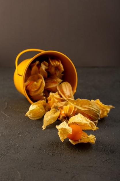 Вид спереди очищенные оранжевые фрукты внутри желтой корзины, изолированных на серый Бесплатные Фотографии