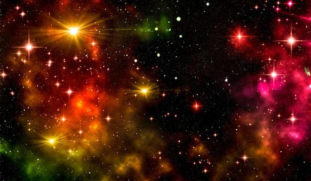 밝은 성운, 반짝이는 별, 별 먼지가있는 은하. 프리미엄 사진