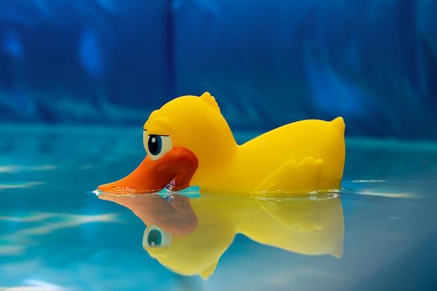 Одинокая желтая утка в надувных какашках Premium Фотографии