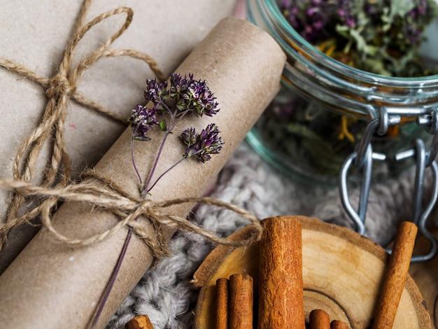 Набор полезных ингредиентов для лечения в домашних условиях Premium Фотографии