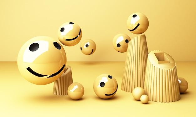 노란색 배경에 미소와 함께 웃는 얼굴 이모티콘-노란색 기하학적 모양 3d 렌더링으로 진정한 행복의 감각을 보여주는 이모티콘 프리미엄 사진