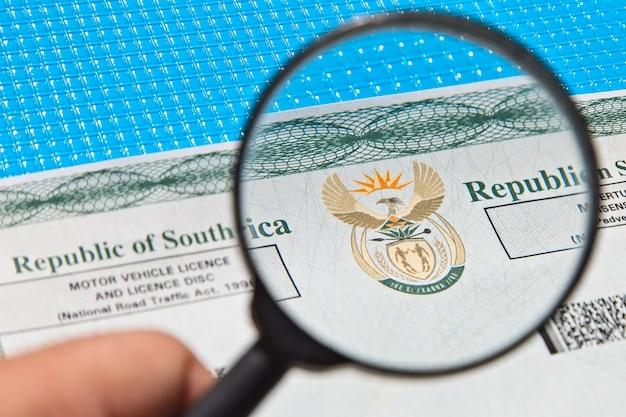 南アフリカの自動車免許証 無料写真