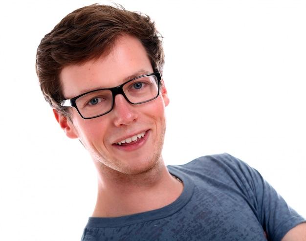 Успешный бизнесмен в очках улыбается Бесплатные Фотографии