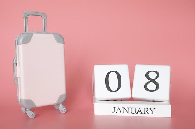 Троллер возле календаря на 8 января Premium Фотографии