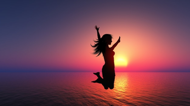 A woman jumping, sunset Photo | Free Download