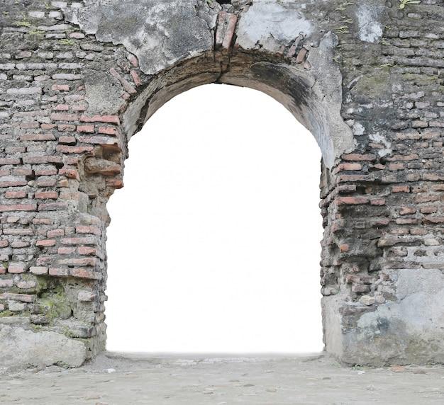 Abandoned gate isolated on white Premium Photo