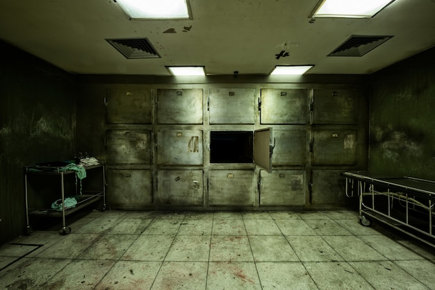 Abandoned morgue in psychiatric hospital Free Photo
