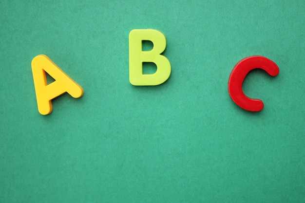 Abc first letter of the english alphabet on green background Premium Photo