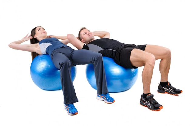 Abdominal fitball exercises Premium Photo