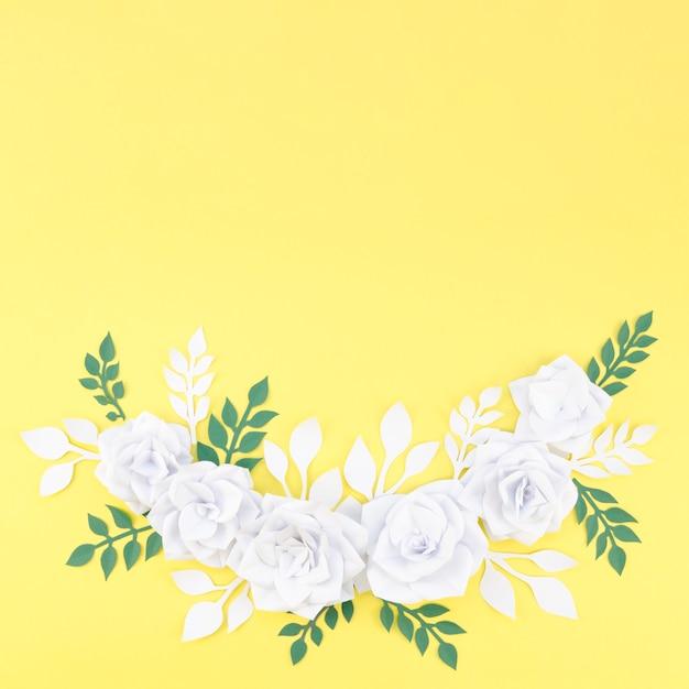 복사 공간보기 꽃 프레임 위 무료 사진
