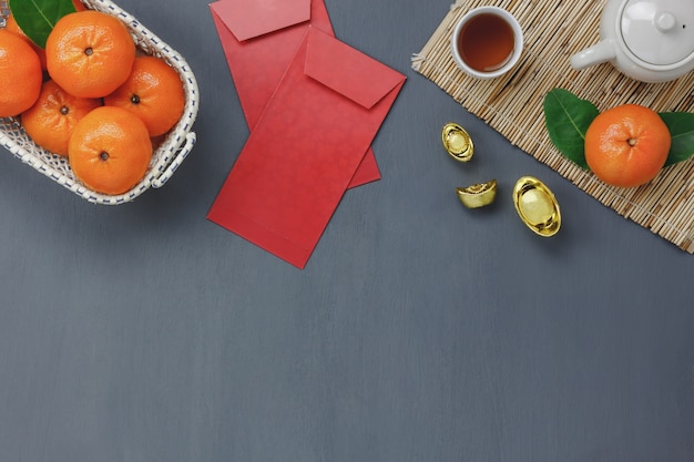 above view of top decoration happy chinese new year background conceptmix variety essential items