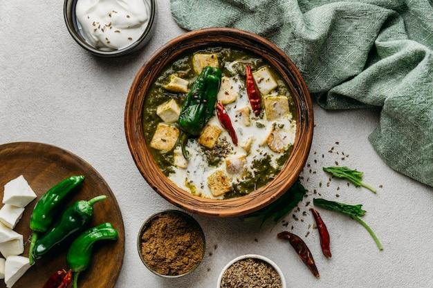 上図パキスタン料理のアレンジメント 無料写真