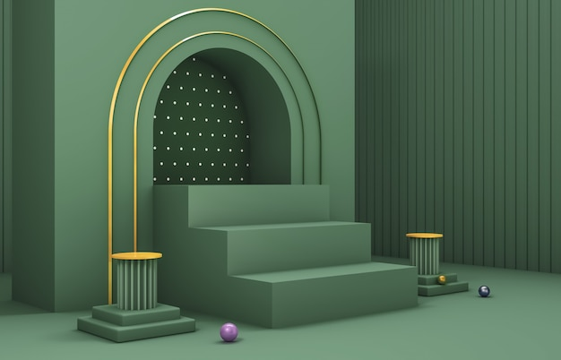 Abstract 3d composition. winter christmas background  for product display. Premium Photo