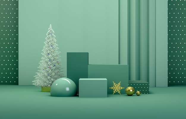 Abstract 3d composition. winter christmas background with christmas tree and stage for product display. Premium Photo