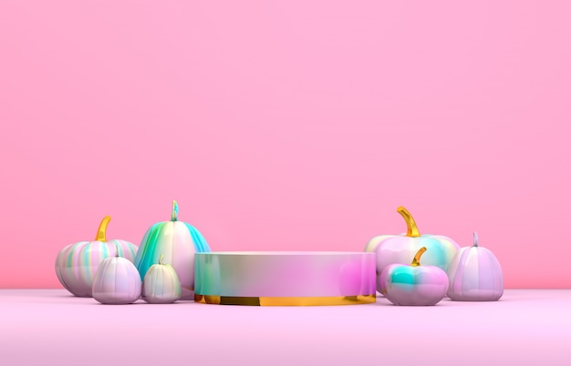 Abstract 3d halloween podium with pastel pink cylinder box and pumpkins for products display. Premium Photo