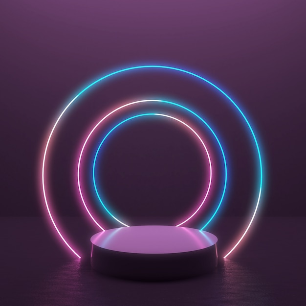 Abstract 3d render background with glowing light line in minimal design for product display. Premium Photo